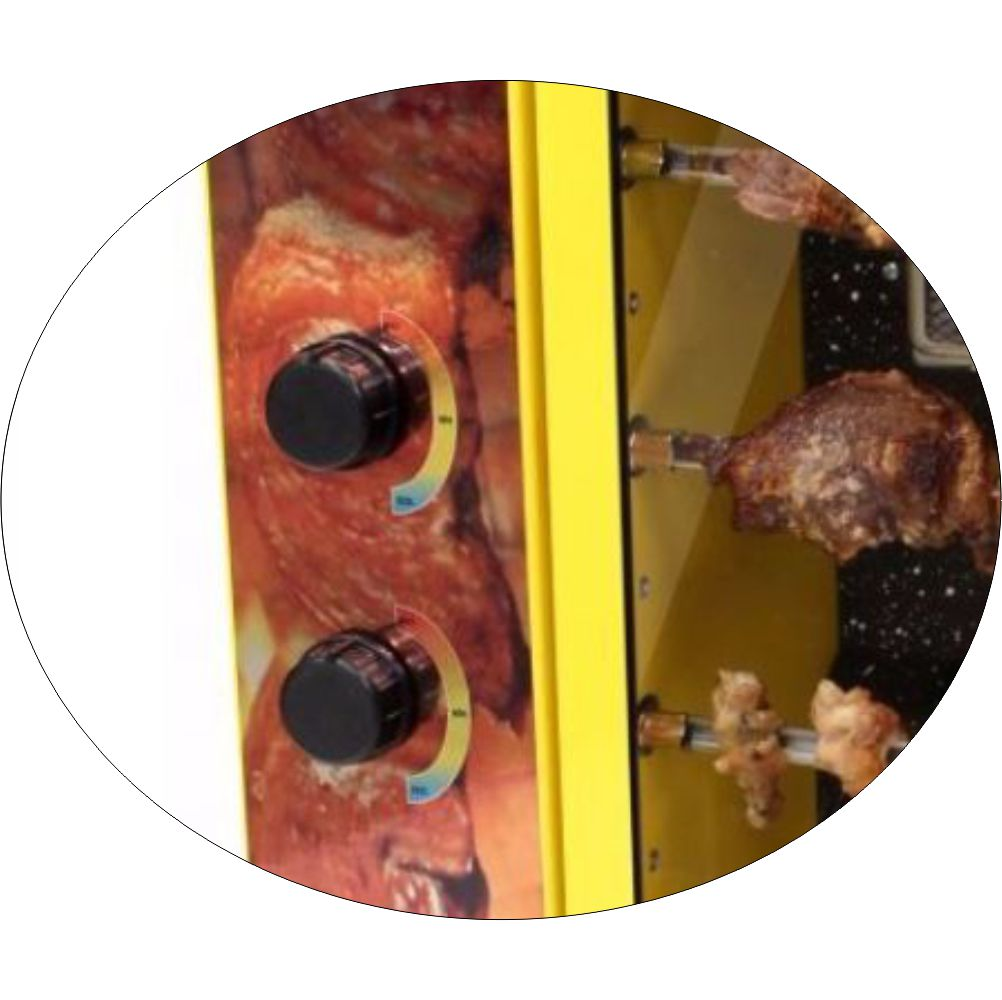 Churrasqueira Rotativa Vertical á Gás Em Aço Carbono Com 5 Espetos Amarela - Bivolt