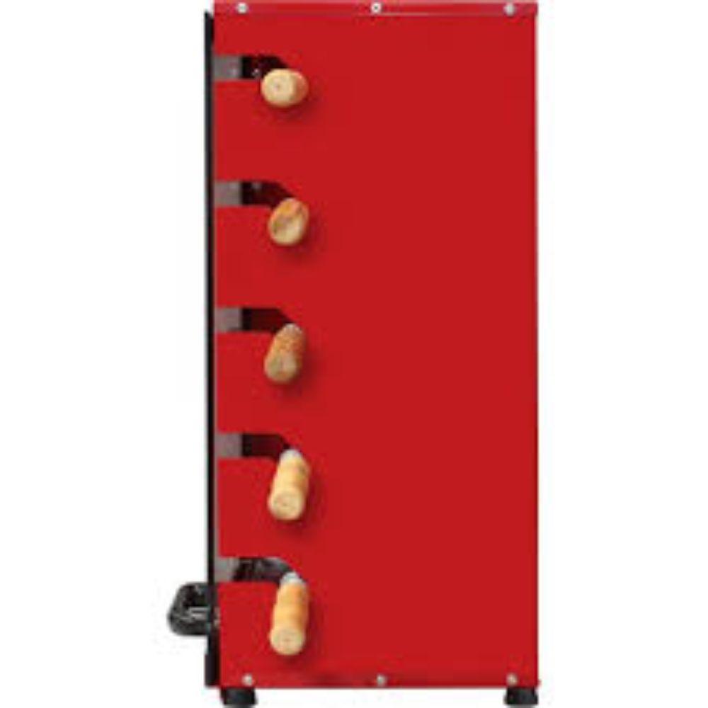 Churrasqueira Rotativa Vertical á Gás Em Aço Carbono Com 5 Espetos Vermelha - Bivolt