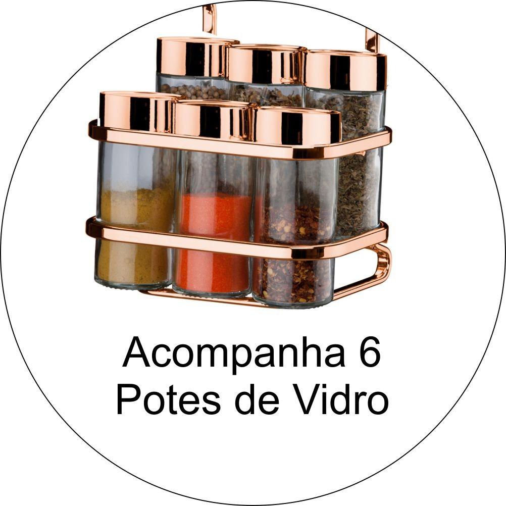 Porta Tempero 6 Vidros+ Prateleira Dupla+ Porta Papel Toalha e Barras 30 e 45cm Cobre