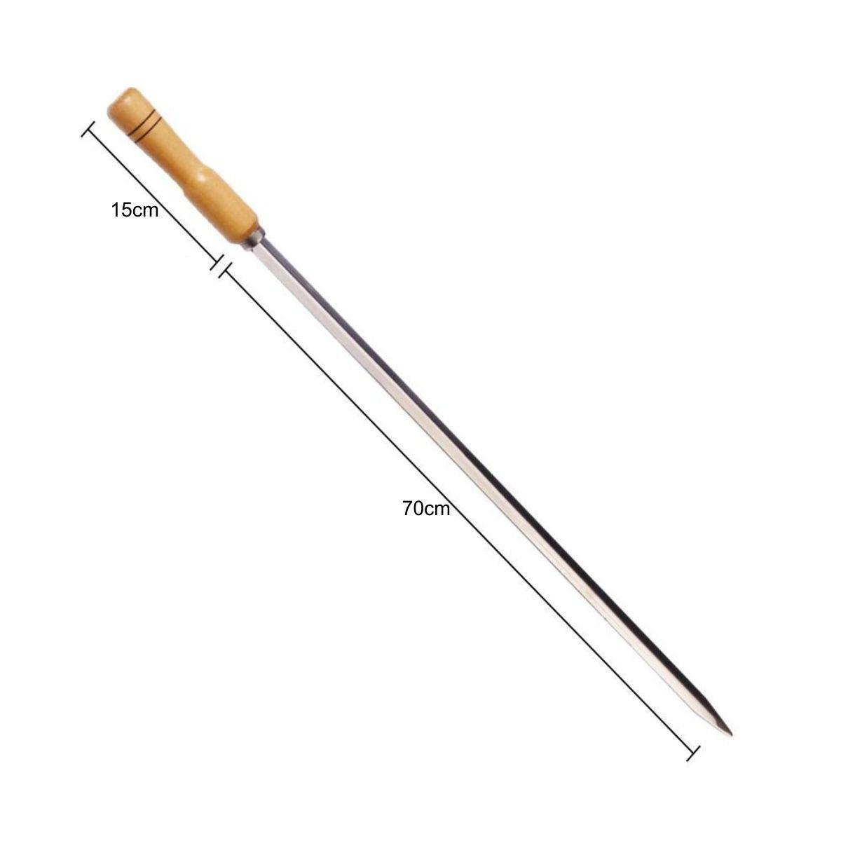 Conjunto 12 Espetos 70cm de Churrasco Aço Inox