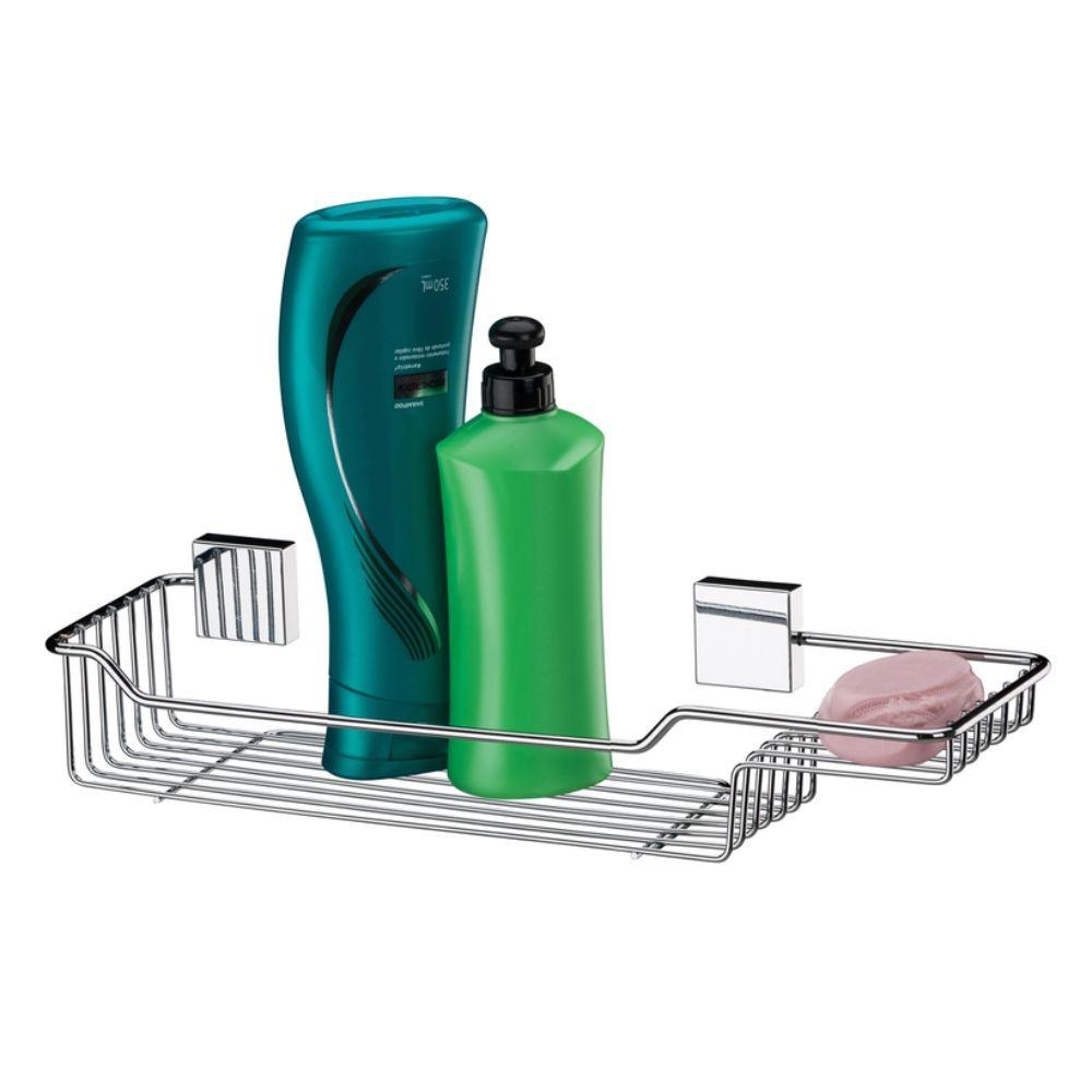Porta Shampoo Com Saboneteira + Toalheiro Duplo 60Cm Aço Inox