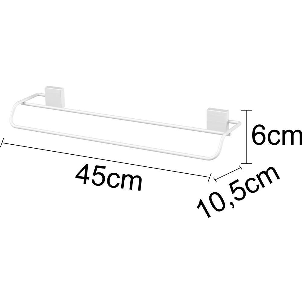 Conjunto 2 Toalheiros Duplo 45cm Fixação Por Parafuso Branco