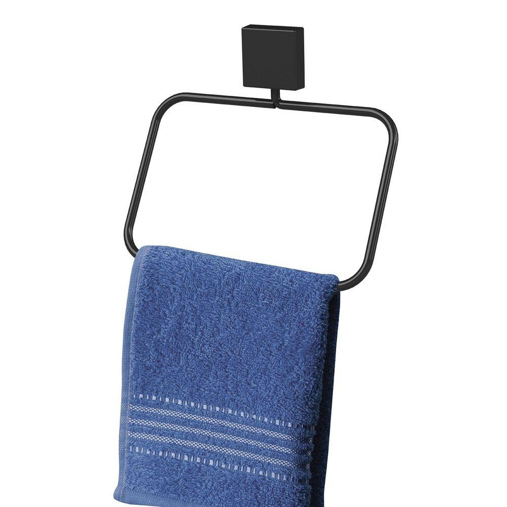 Conjunto 4 Suportes Banheiro Fixação por Parafuso Preto