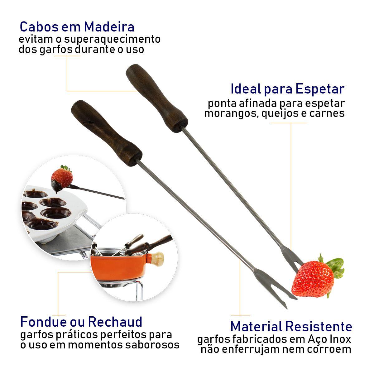 Jogo 6 Garfos Para Fondue Inox Cabo de Madeira