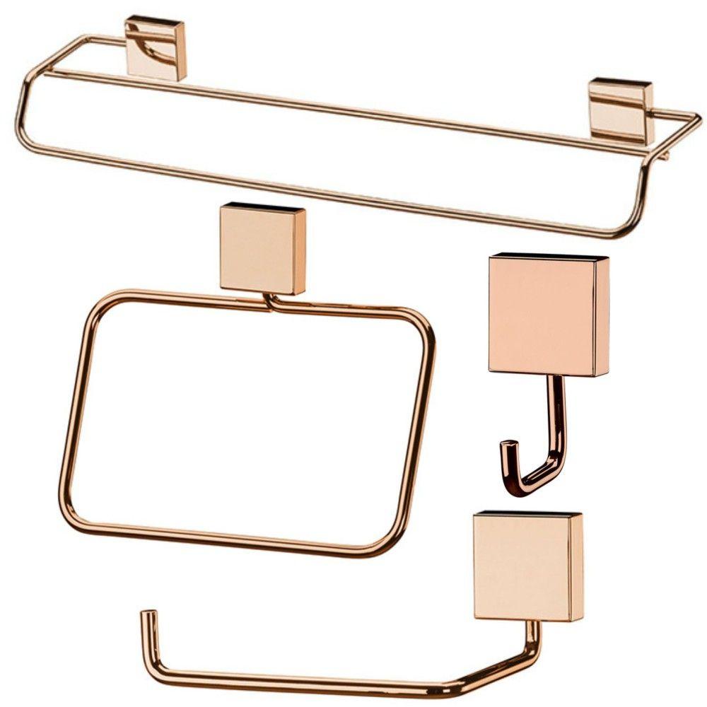 Conjunto Acessórios Para Banheiro Cobre Rosé Gold 4 Peças