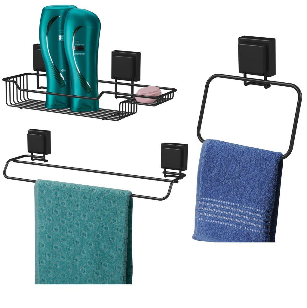 Kit Organizadores Para Banheiro Pretos Fixação Sem Furar - Ventosa