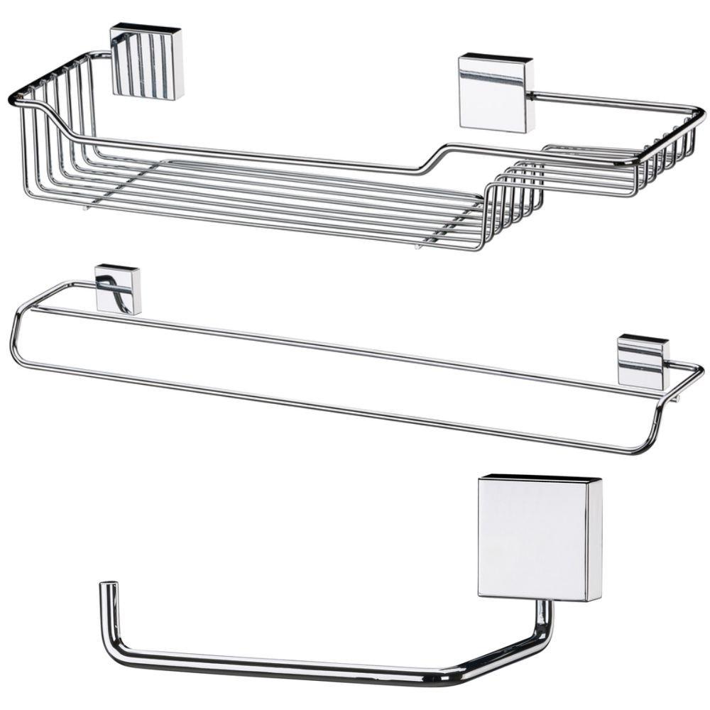 Kit Para Banheiro Em Aço Inox 3 Peças Fixação Parafuso
