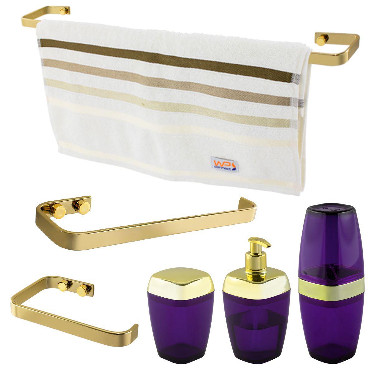 Conjunto Banheiro 6 Peças Translúcido Porta Algodão Escova Sabonete Líquido Toalheiro 60 CmPapeleiro