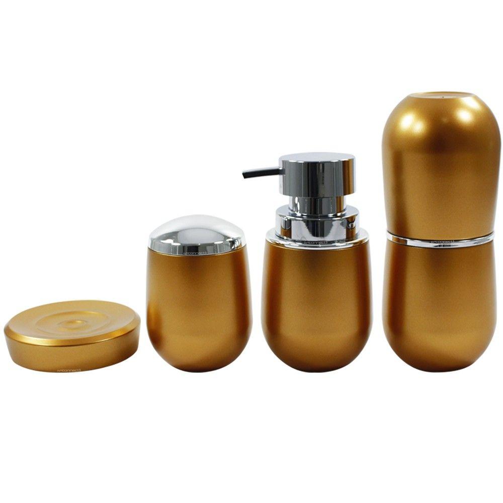 Conjunto Belly Vintage Dourado Porta Escova Sabonete Algodão
