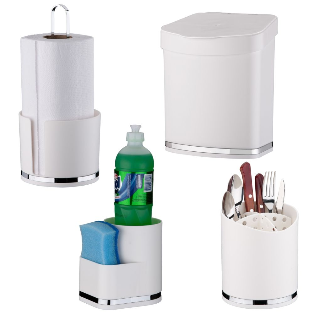 Conjunto Cozinha 4 Peças C/ Lixeira Porta Detergente