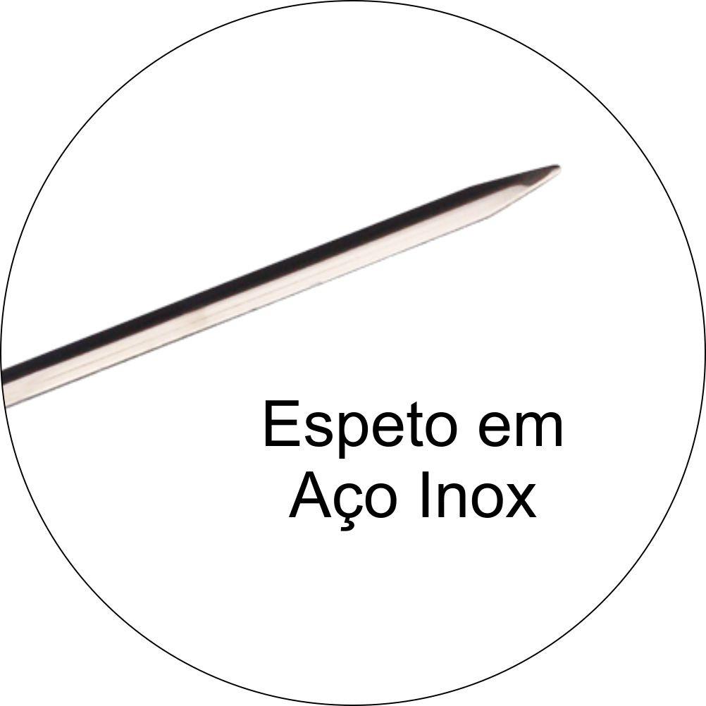 Conjunto 4 Espetos 70cm Aço inox  Cabo Madeira Para Churrasco