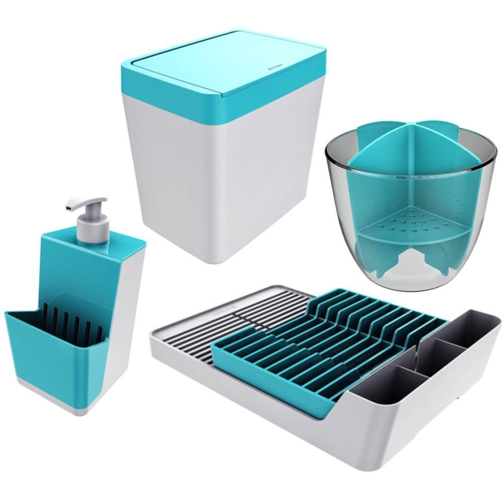 Kit Organizador Escorredor+ Lixeira+ Porta Talheres+ Dispenser