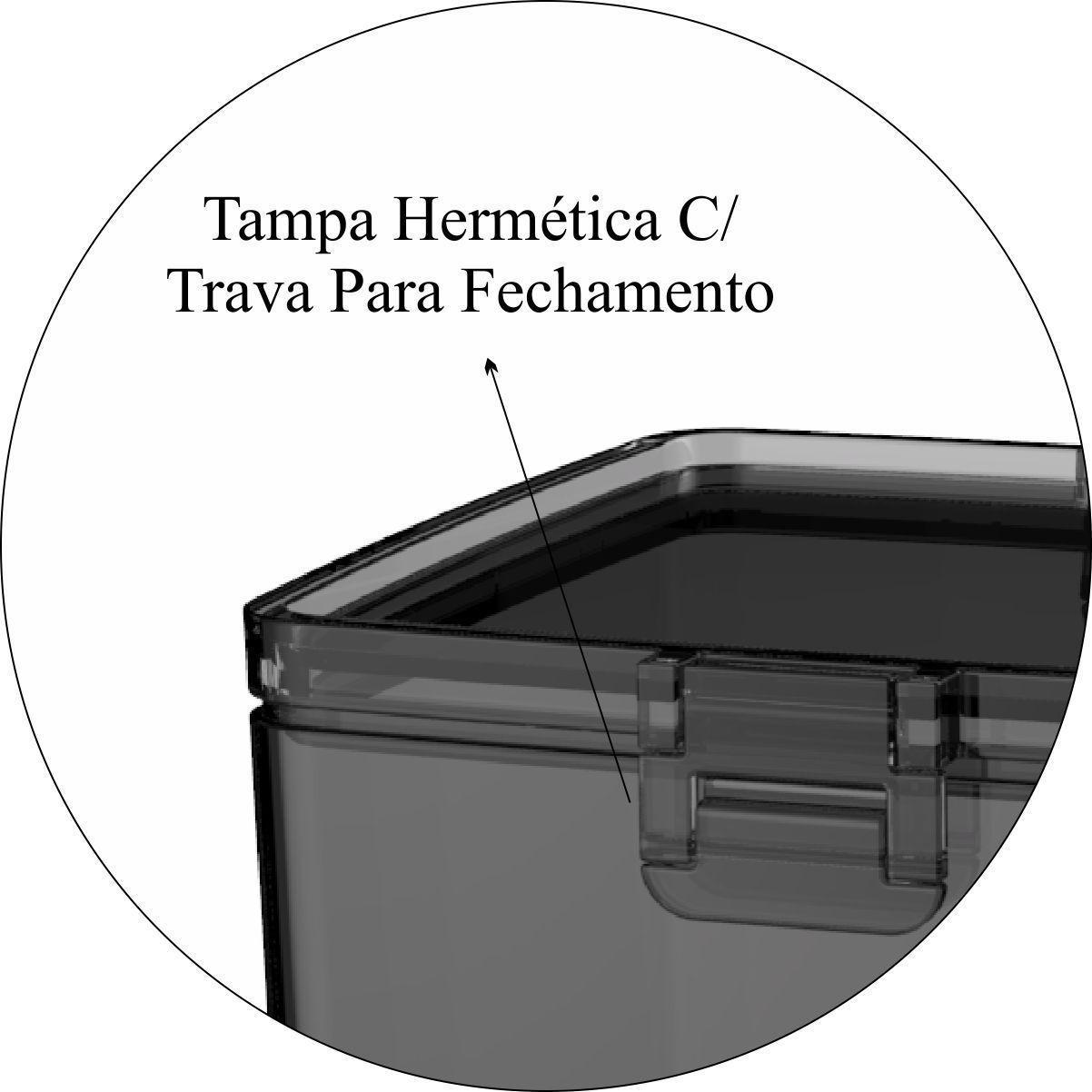 Conjunto de Potes Herméticos Com Tampa Trava Cozinha 5 Peças