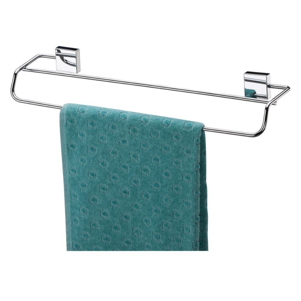 Kit Porta Shampoo Com Toalheiro Duplo 45Cm Fixação Parafuso Aço Inox