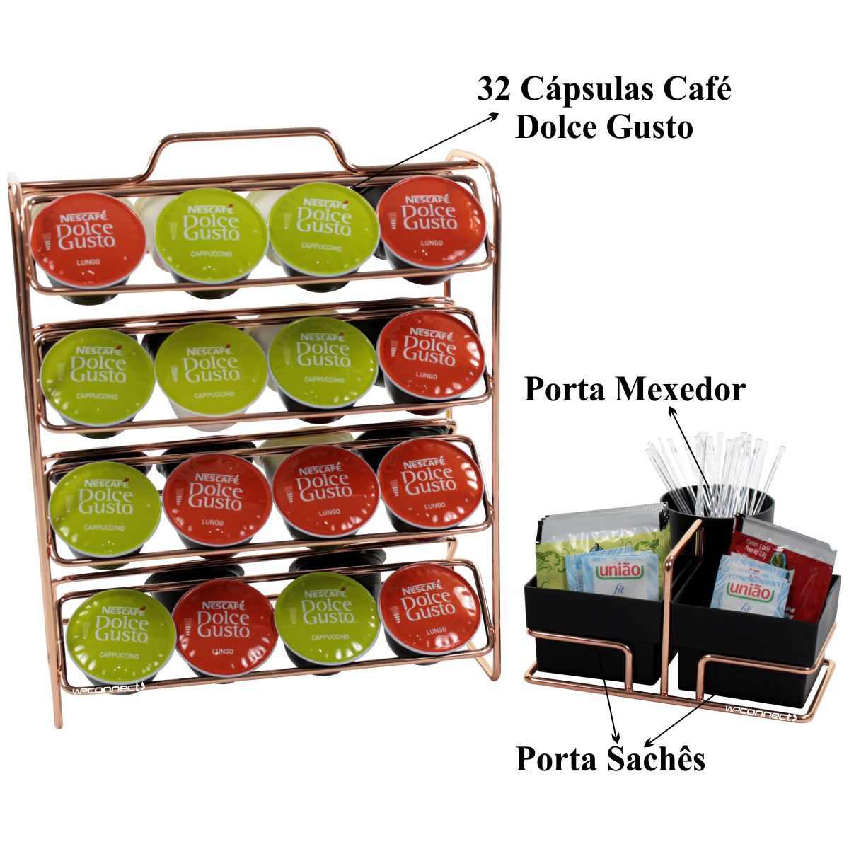 Conjunto Hora do Café Porta Sachês Com Organizador de Cápsulas