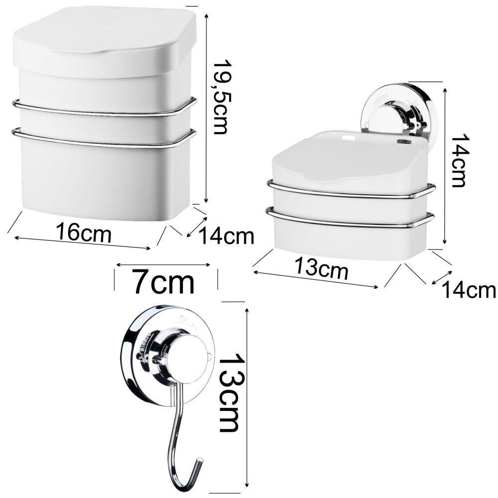 Conjunto Lixeira 2,5L C/ Saleiro Ganchos Multiuso Ventosa