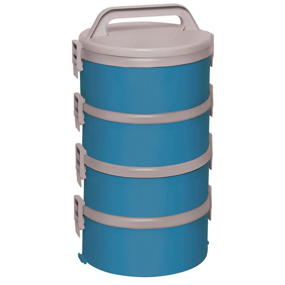 Kit 4 Marmitas Térmicas Tekcor 1,5 Litros Com Alça - Azul