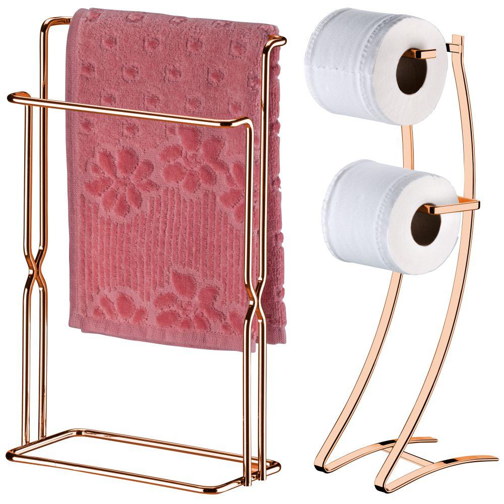 Conjunto Papeleira Com Toalheiro Banheiro Organizado - Cobre