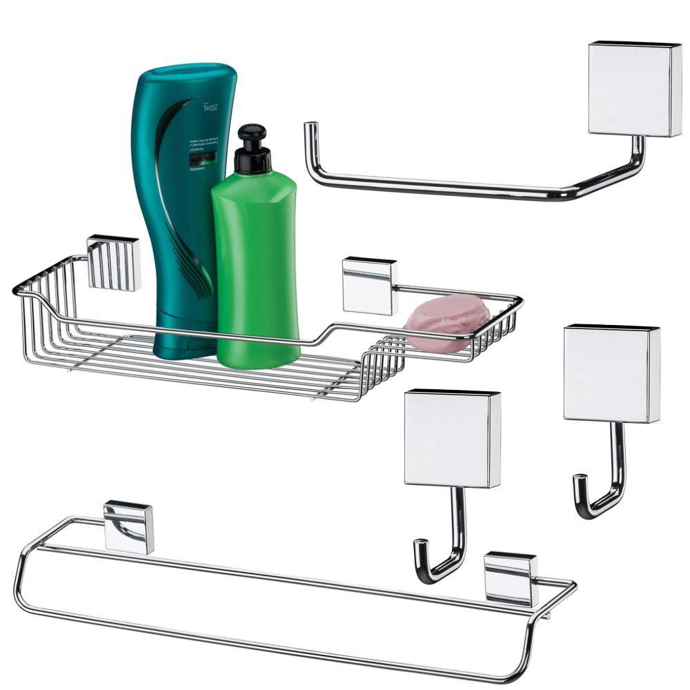 Conjunto Para Banheiro Aço Inox Com 5 Peças
