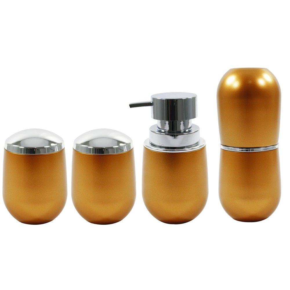 Conjunto Para Banheiro Dourado Porta Escova Sabonete Algodão
