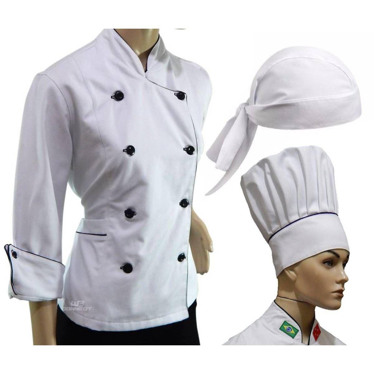 Conjunto Para Chef de Cozinha Feminino Dólmã Chapéu Bandana - WP Connect abefc3d5d7b