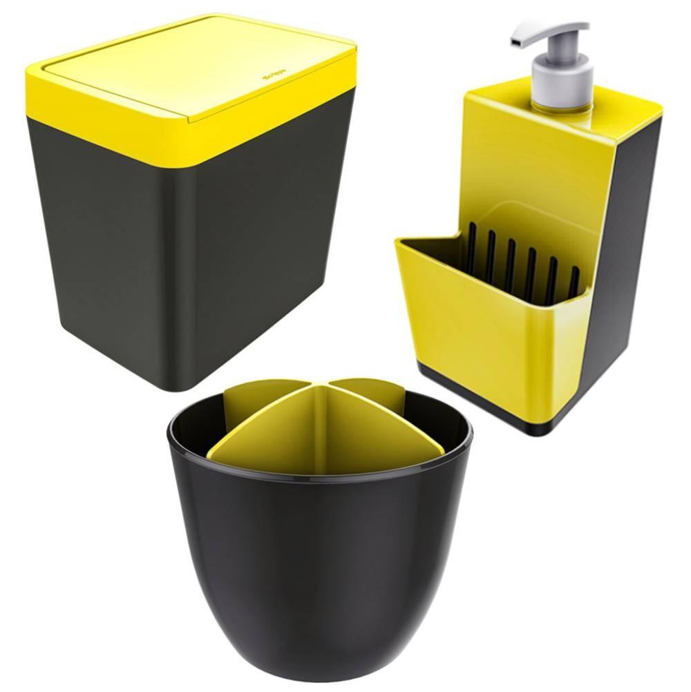 Kit Pia Cozinha Dispenser + Porta Talher + Lixeira - Chumbo