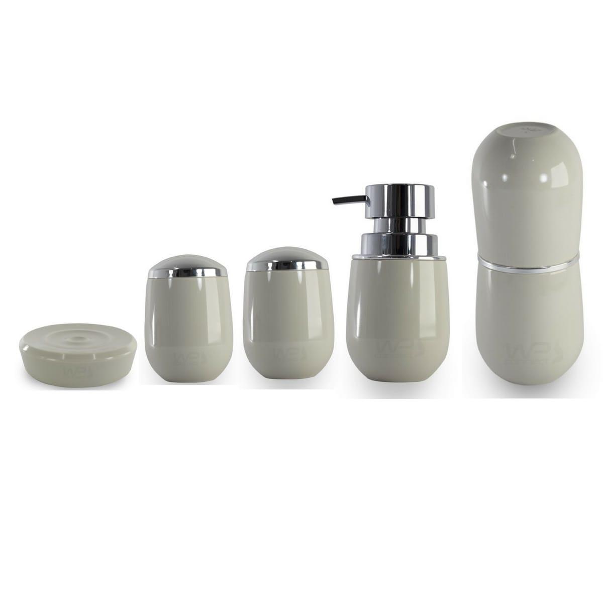 Conjunto Pia Banheiro Porta Escova Sabonete Líquido Algodão