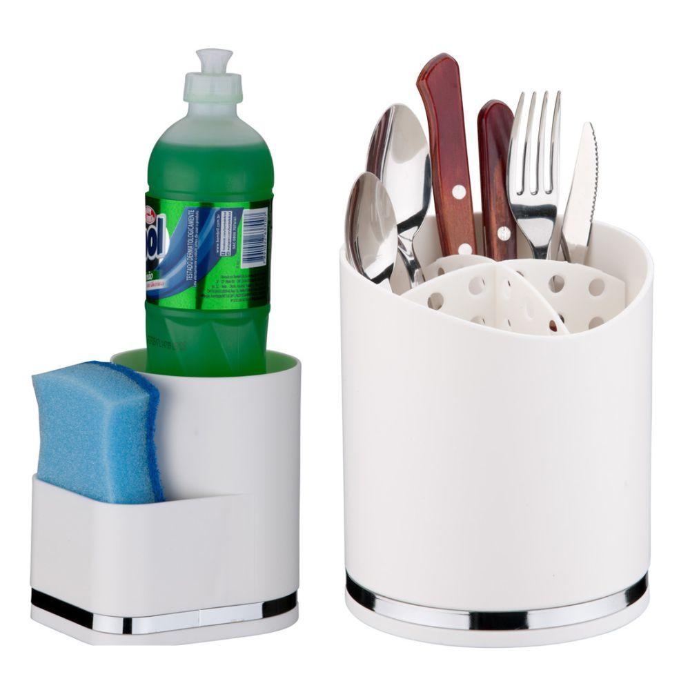 Conjunto Suporte Para Detergente e Esponja + Suporte de Talheres