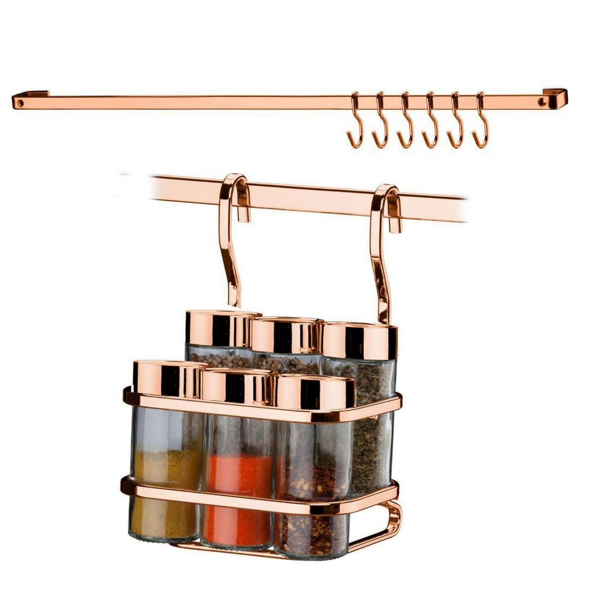 Conjunto Suporte Temperos E Condimentos + Barra 45cm Rose Gold