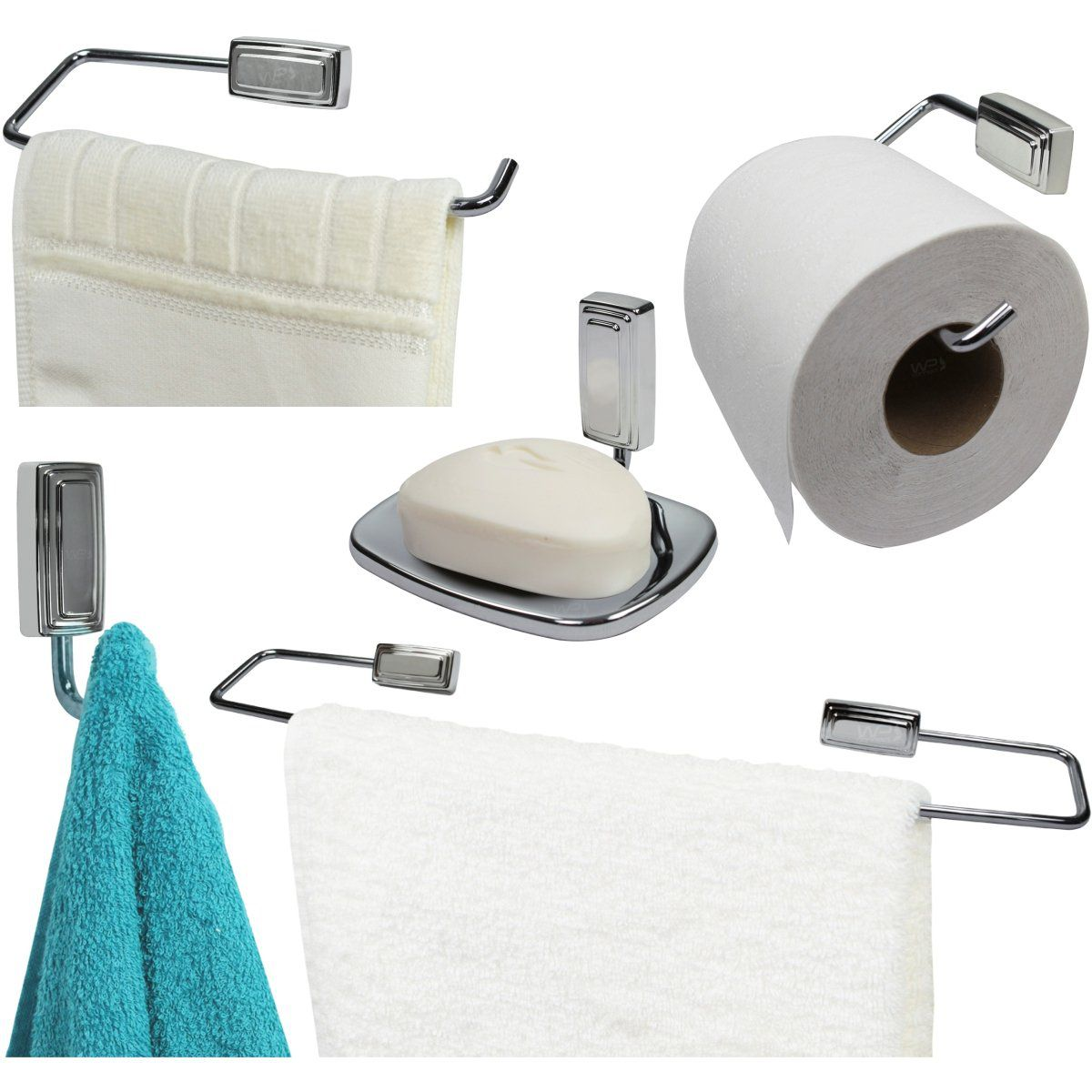 Conjunto Suportes de Banheiro 5 Peças Inti - Cromado
