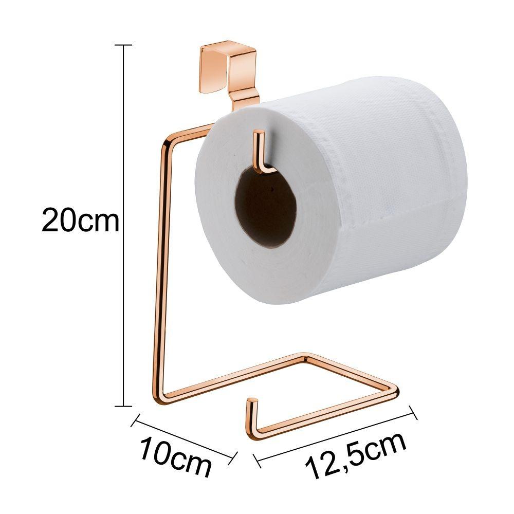 Lixeira com suporte papel higiênico cobre rosé gold