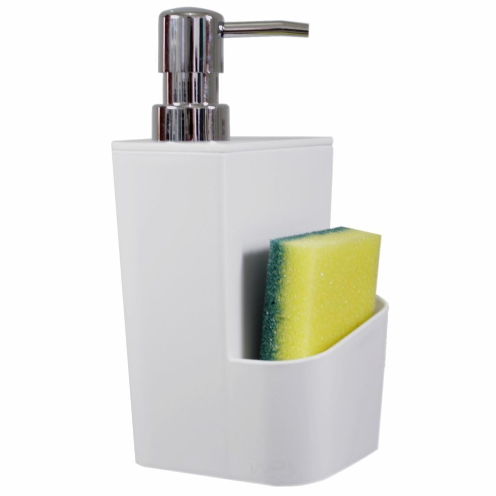 Dispenser Detergente Esponja Branco + Suporte de Xícaras e Canecas