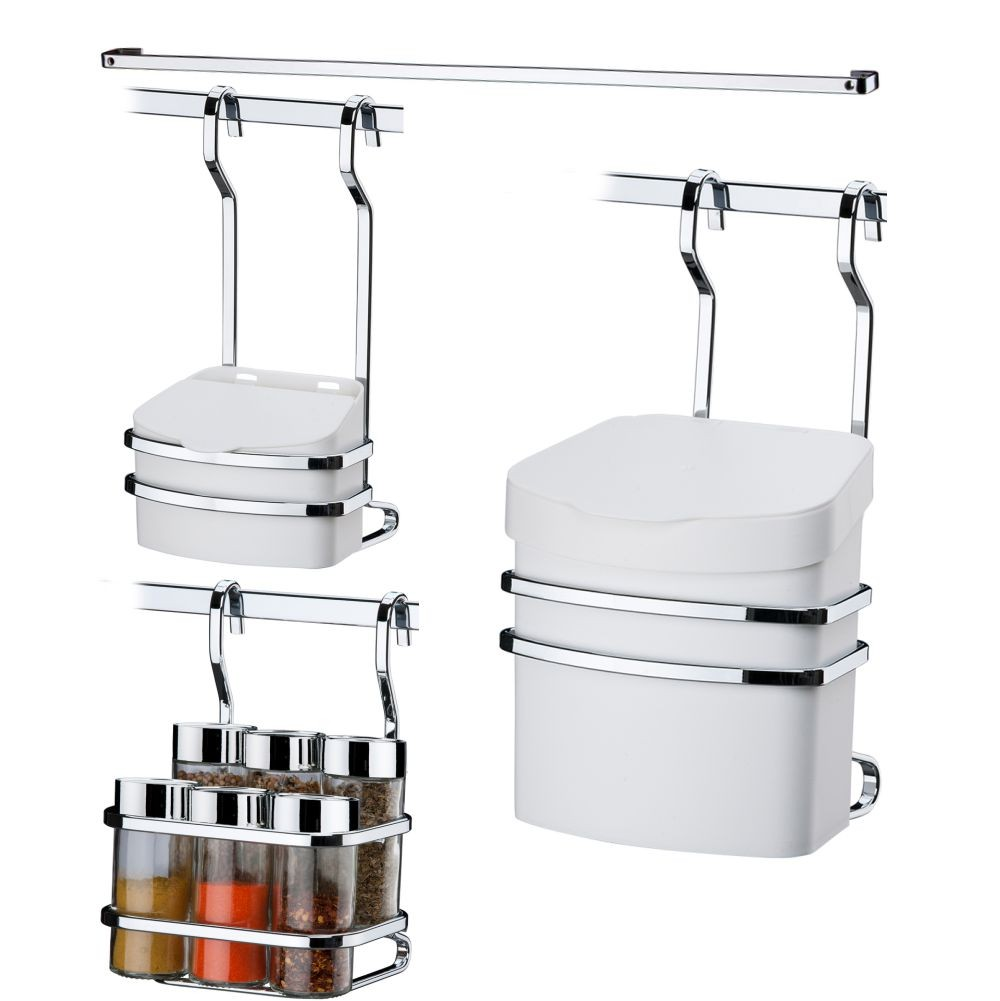Dispenser P/ Condimentos e Temperos+ Lixeira+ Saleiro+ Barra Aço 45 cm