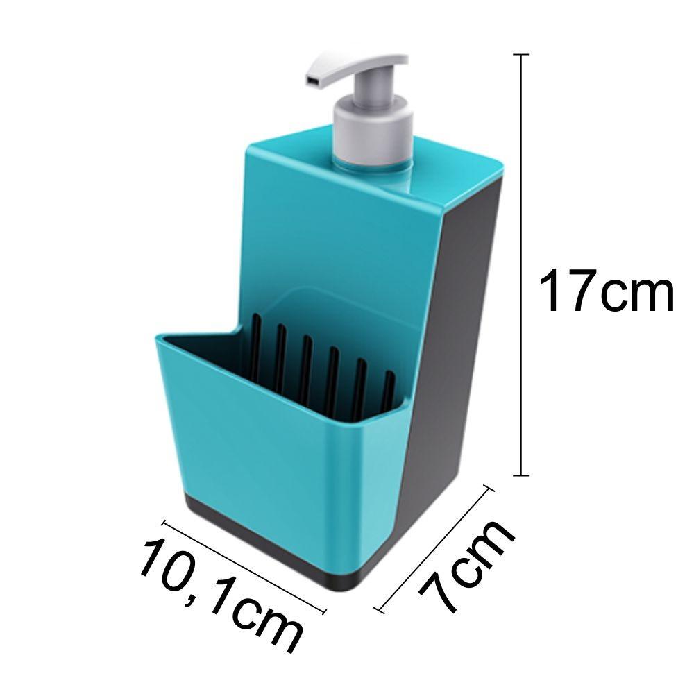 Dispenser P/ Detergente e Porta Esponja Azul Turquesa/Chumbo