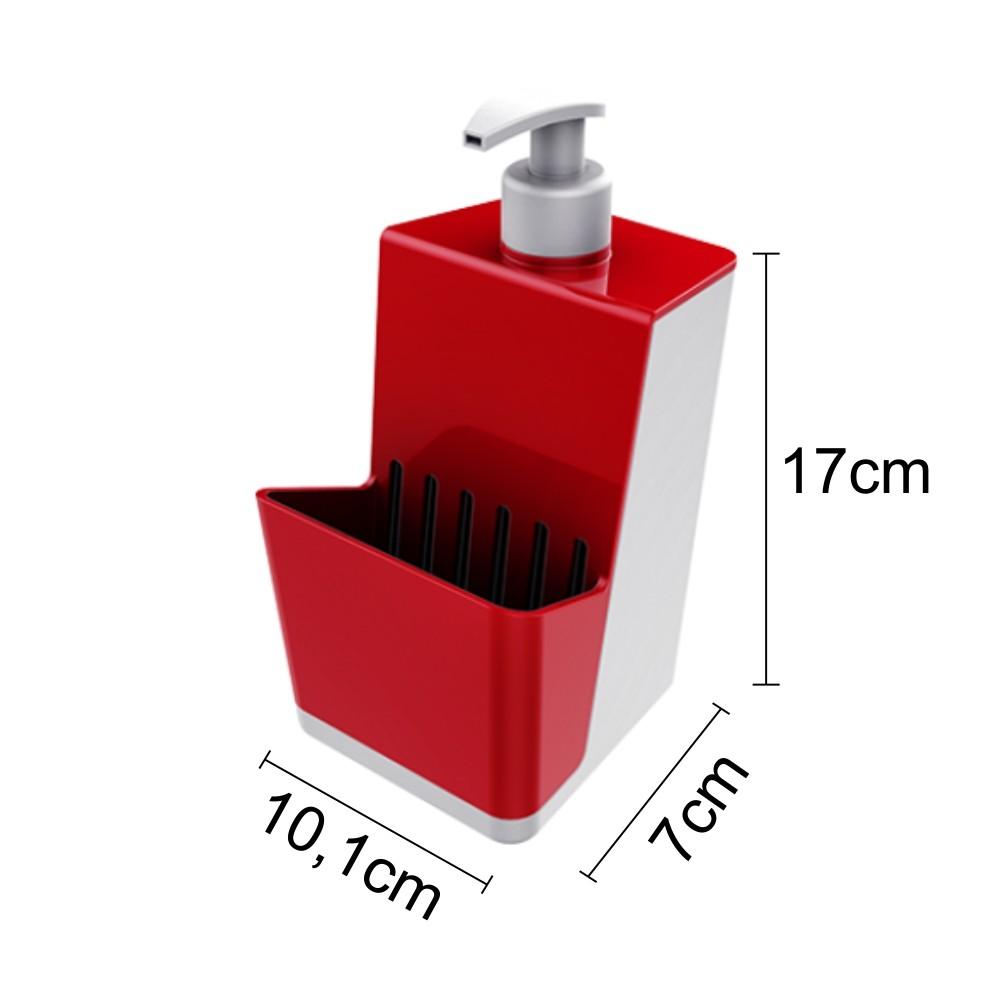 Dispenser P/ Detergente Com Porta Esponja - Branco/Vermelho