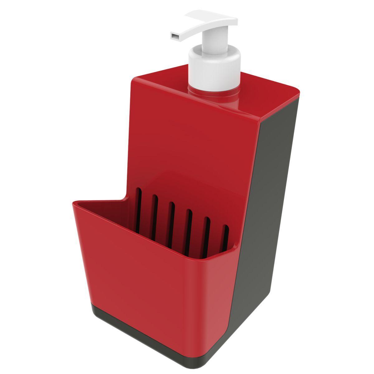 Dispenser P/ Detergente Com Porta Esponja - Chumbo/Vermelho