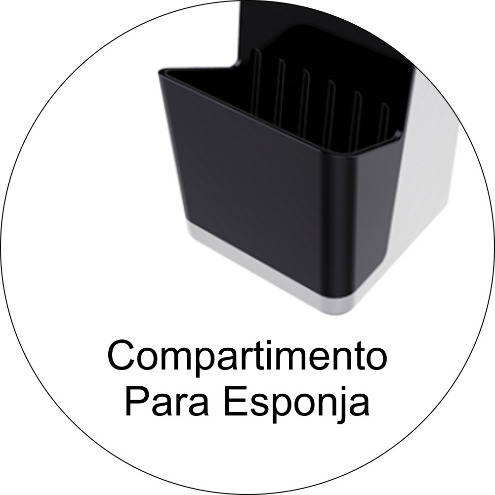 Dispenser P/ Detergente de Pia 500ml Com Porta Esponja Preto