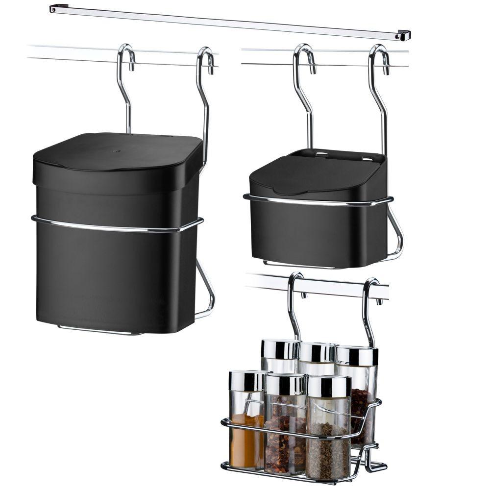 Dispenser P/ Temperos+ Lixeira+ Saleiro+ Barra Aço 80 cm com 6 Ganchos
