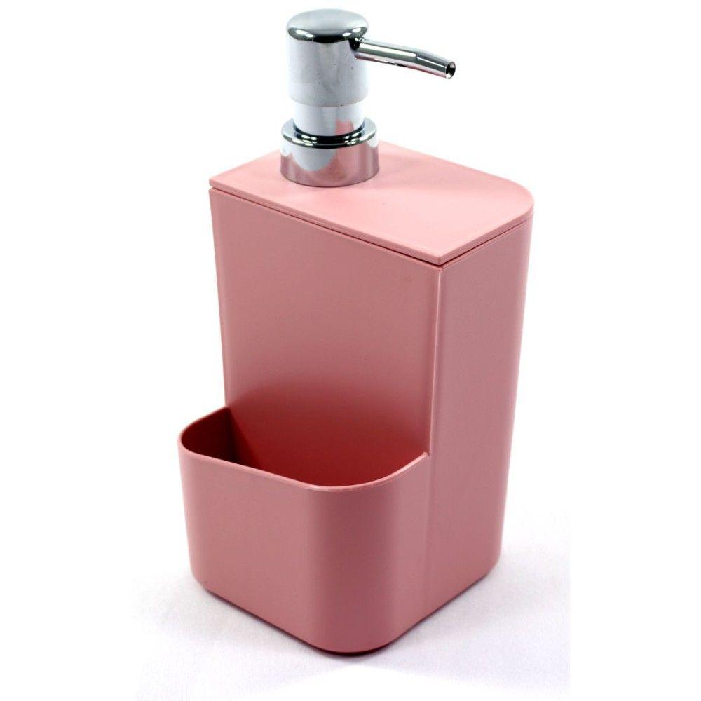 Dispenser Para Detergente Com Porta Esponja 650ml - Rosa
