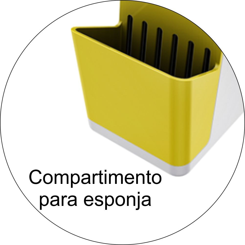 Dispenser Para Detergente Com Porta Esponja - Amarelo