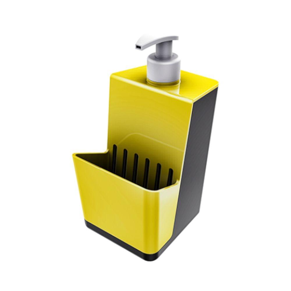 Dispenser Dosador Para Detergente e Porta Esponja - Amarelo/Chumbo