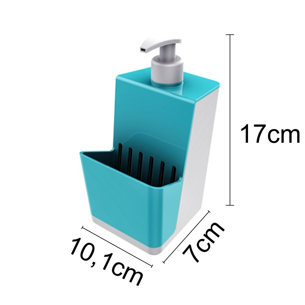 Dispenser Para Detergente Com Porta Esponja - Azul Turquesa