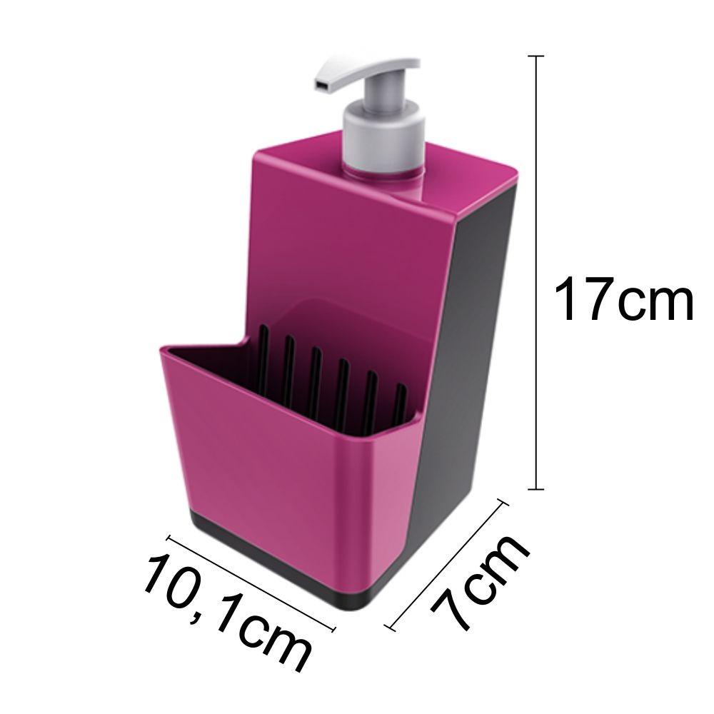 Dispenser Organizador Pia Para Detergente e Porta Esponja - Rosa/Chumbo