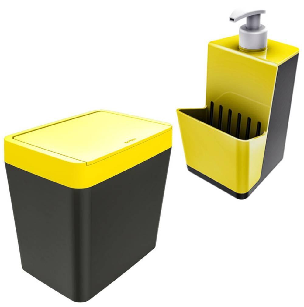 Dispenser Detergente/ Esponja Pia + Lixeira 5 litros Com Tampa