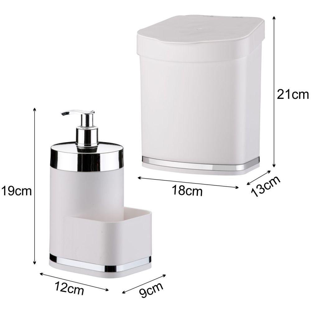 Dispenser Para Detergente/Esponja Lixeira 2,5 Litros Pia Cozinha
