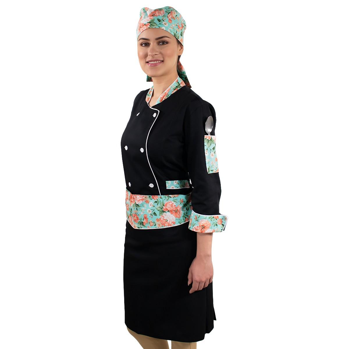 Dólmã Bandana e Avental Chef de Cozinha Floral Verde Feminino