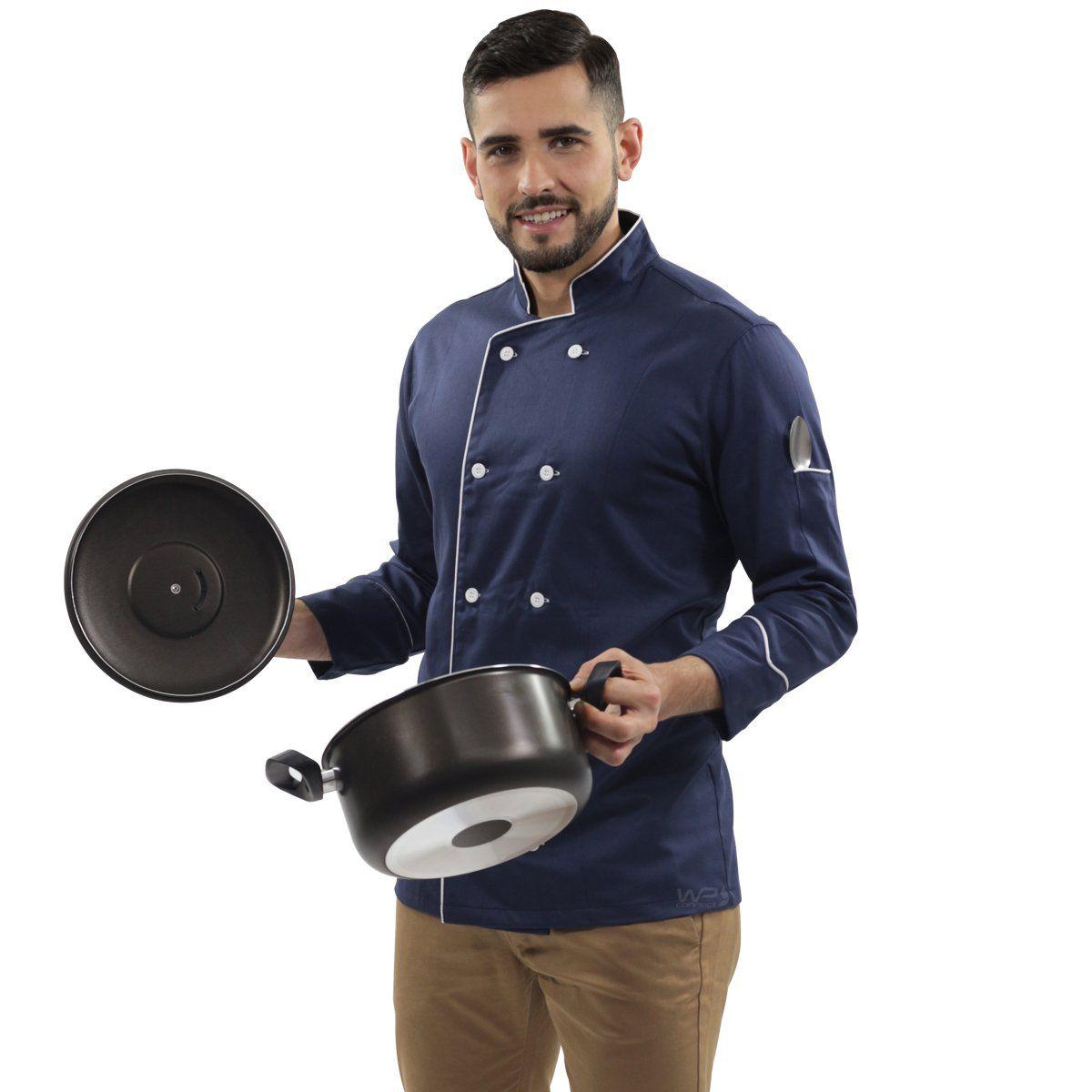 Dólmã Chef de Cozinha Azul Blueberry