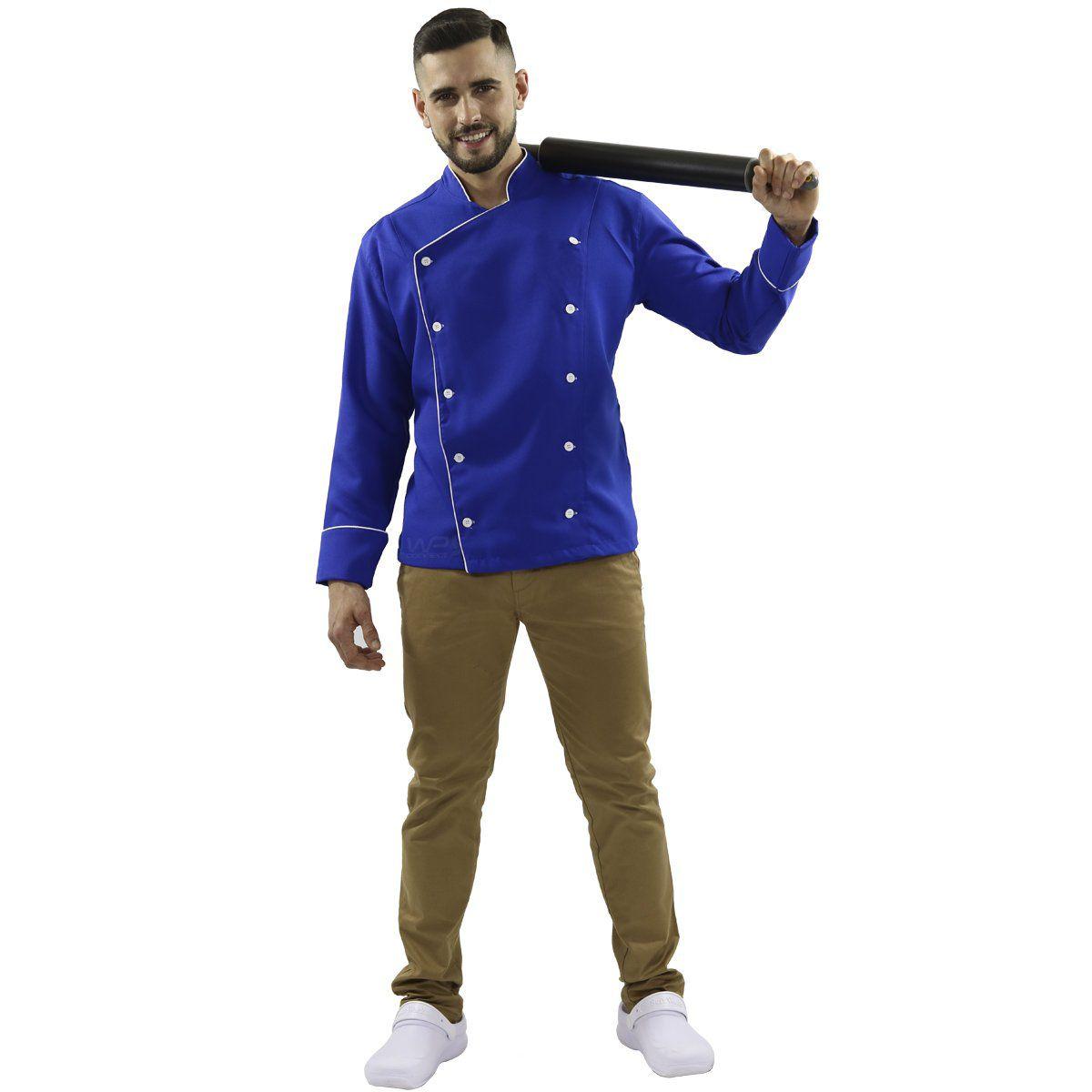 Dólmã Chef de Cozinha Azul/ Branco Oxford