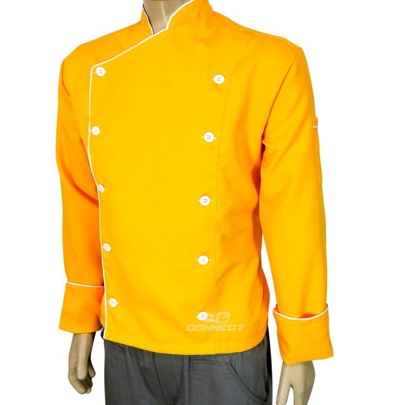 Dólmã Chef de Cozinha Amarelo/Branco Oxford