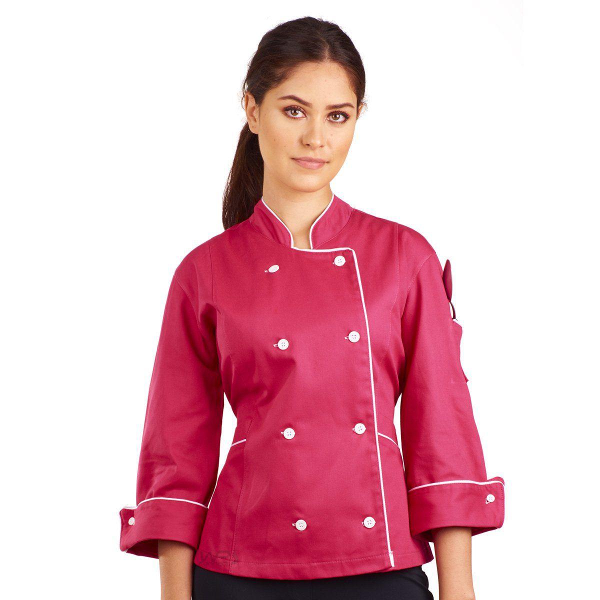 Dólmã Chef de Cozinha Feminina Madrid - Rosa/Branco